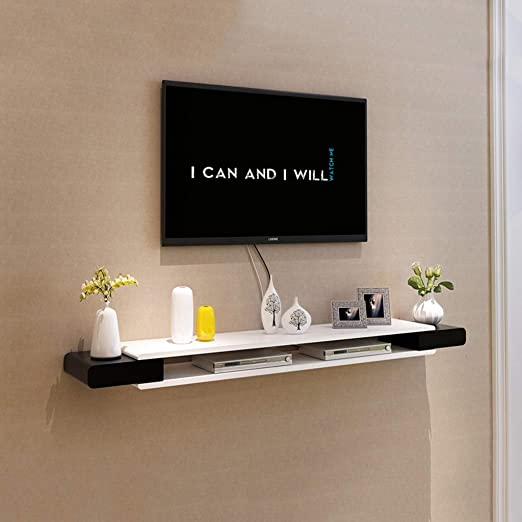 de plateau étagère TV étagère mur murale fond étagère blanc et murale meuble haut Noir décoration chambre rangement TV coucher à salon D2YEIWH9