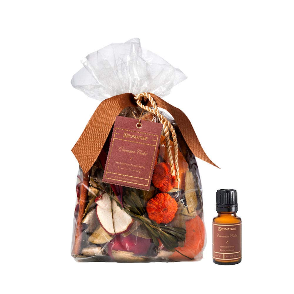 Aromatique Large 14 Ounce Bag Potpourri Cinnamon Cider and 1/2 Ounce Refresher Oil by Aromatique