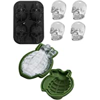 4boşluk, kuru kafa form 3D Ice Cube form Grenade silikon form Maker bar parti silikon tepsilerde çikolata form buz Tools Whiskey buz ve kokteyller