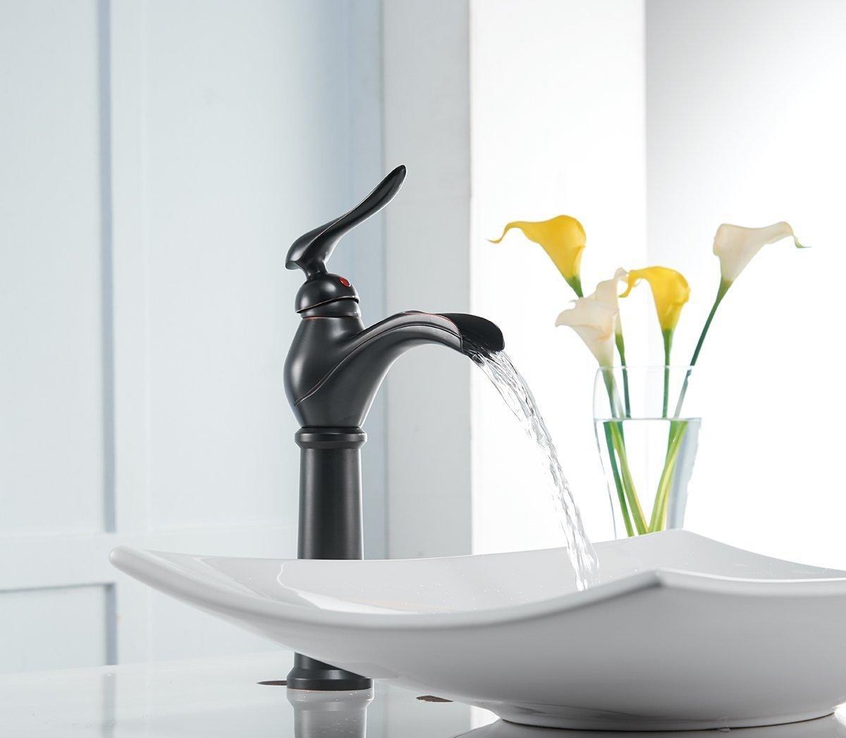 Greenspring Waterfall Single Lever Handle Hole Bathroom Sink Faucet Brushed Nickel