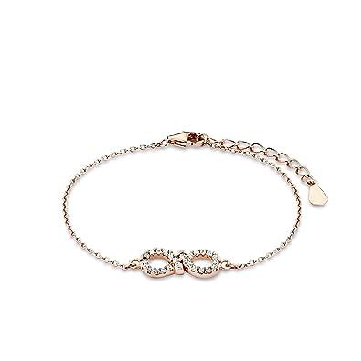 Amor Damen-Armband 925 Infinity Unendlichkeitszeichen Sterling Silber  rosévergoldet 15+3 cm - 509930 1e4afcaf3f