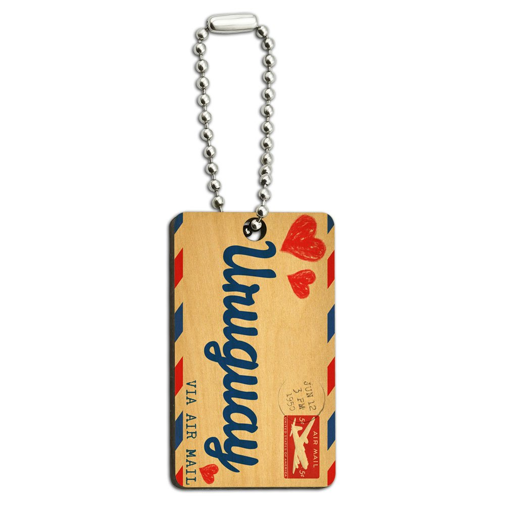 Air Mail Postcard Love for Uruguay Wood Wooden Rectangle Key Chain