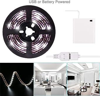 Luces de tira LED de 2m USB o batería Batería de cinta de luz LED blanca fría Batería 6.6FT Luz de cinta LED súper brillante a prueba de agua: Amazon.es: Iluminación