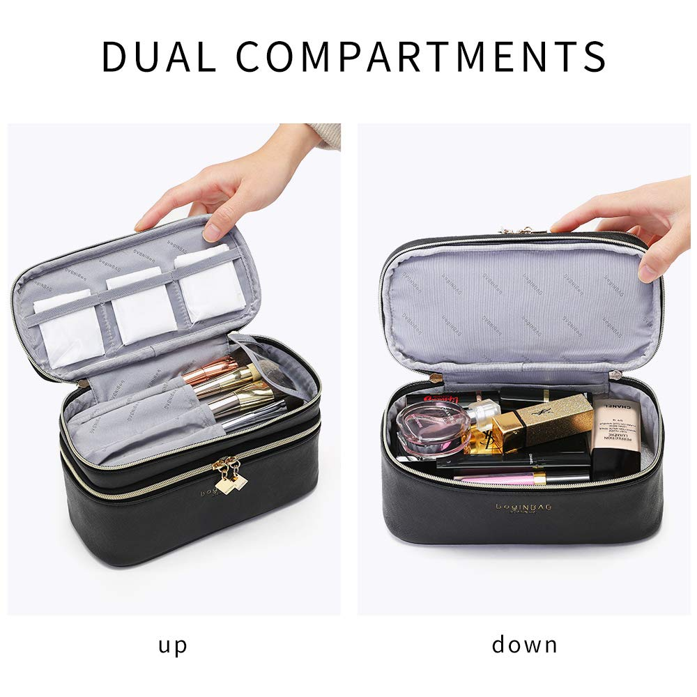 Multifunction Dual Compartment Cosmetic Bag, Waterproof Portable Travel Makeup Case With Handle