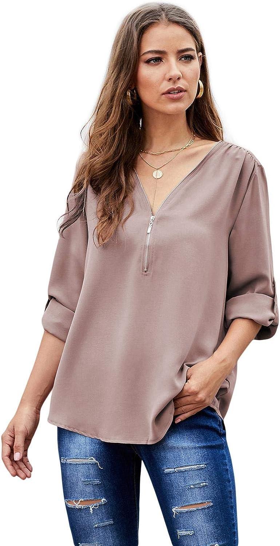 roswear Women's Zip Up Roll Up Sleeve V Neck Blouse Shirt