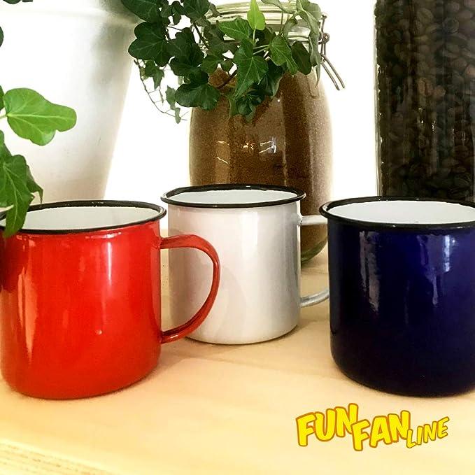 Home Fan Line® - Set de 12 tazas metálicas vintage o retro, tres ...