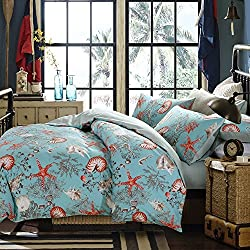 Brandream Luxury Nautical Bedding Designer Beach Themed Bedding Sets 3-Piece 100% Cotton Duvet Cover Set Bedding Set Queen Size 800TC(Sheets Sold Separately)