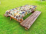 Ambesonne Mushroom Outdoor Tablecloth, Pattern with Types of Mushrooms Wild Species Organic Natural Food Garden Theme, Decorative Washable Picnic Table Cloth, 58 X 84 inches, Multicolor