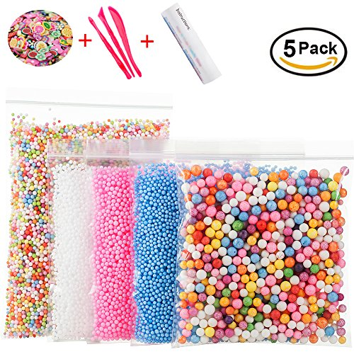 : Foam Beads for DIY Slime – Craft Styrofoam Balls 0.1-0.35 inch(47000pcs) for Kids Homemade Slime, Home Decorative, Wedding and Party Decorations (5 Pack)