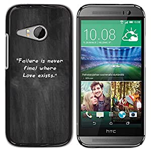 Qstar Arte & diseño plástico duro Fundas Cover Cubre Hard Case Cover para HTC ONE MINI 2 / M8 MINI ( Grey Mist Smoke Failure Quote Inspiring)