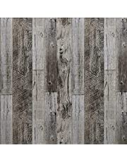 MulYeeh 17.7'' x 118'' Grey Vinyl Wood Peel and Stick Wallpaper Removable Adhesive Wall Covering Prepasted Decorative