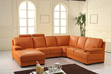Design Voll Leder Ecksofa Sofa Garnitur Eckgruppe 5137 L Orange