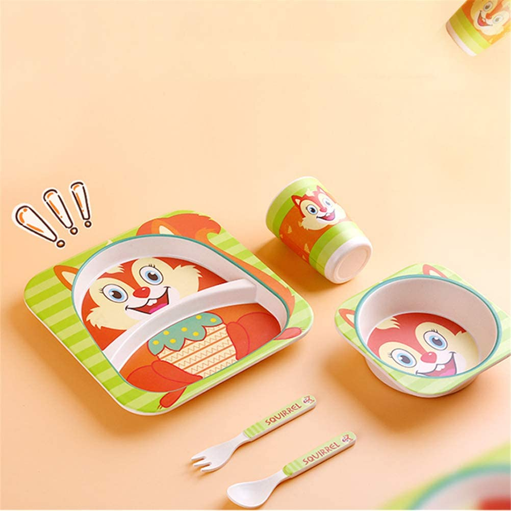 KEBY 5pcs//Sets Baby Toddler Feeding Tableware Set Dish Tableware Set Cartoon Fork Feeding Dishes for Kids Utensils Natural Bamboo Fiber Bowl with Cup Spoon Plate Cow