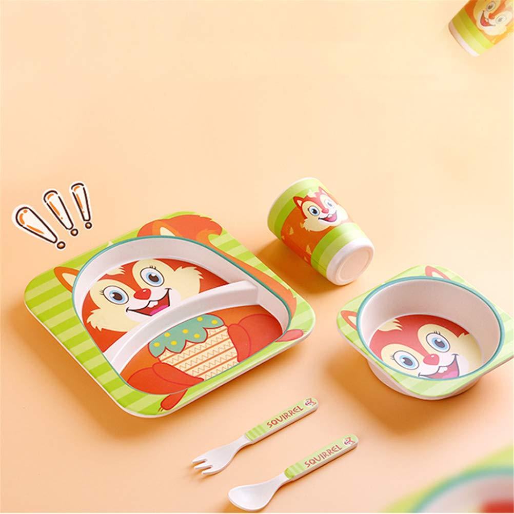 Becher FDA Zertifizierung beige 5-teiliges Geschirr-Set aus Bambus f/ür Kinder Sch/üssel und Teller