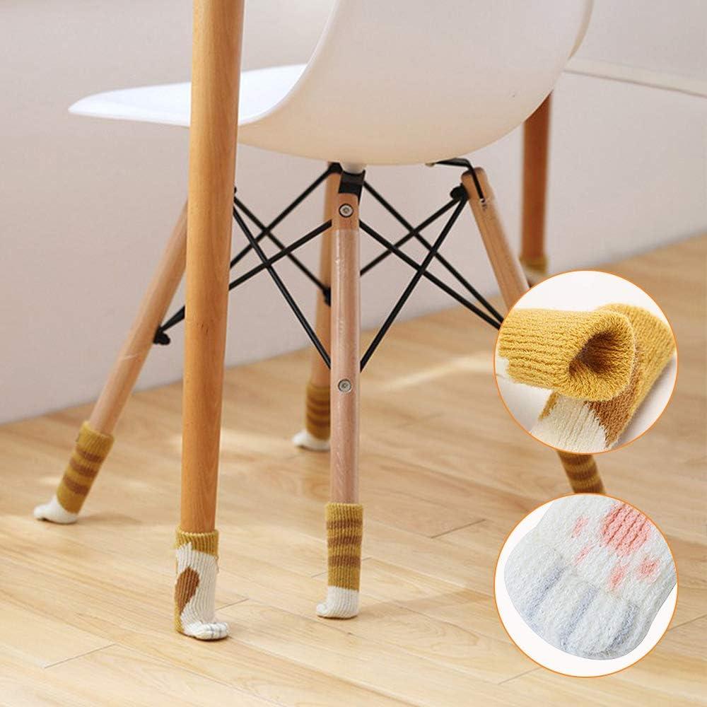 NaCot 24 PCS Chair Leg Socks High Elastic Floor Protectors Antid/érapant Chair Leg Feet Socks Covers 4 Different Cute Cat Paws Patterns Chair Leg Socks Fit Sirth 2.3-7.1-inch
