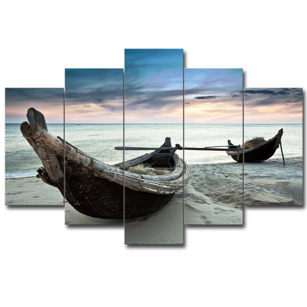 【リブラLibra】 5パネルセット アートパネル インテリアアート 海の景色 キャンバス絵画 (木枠付きの完成品) (L, RA0735) B078VRZTDL Large|RA0735 RA0735 Large