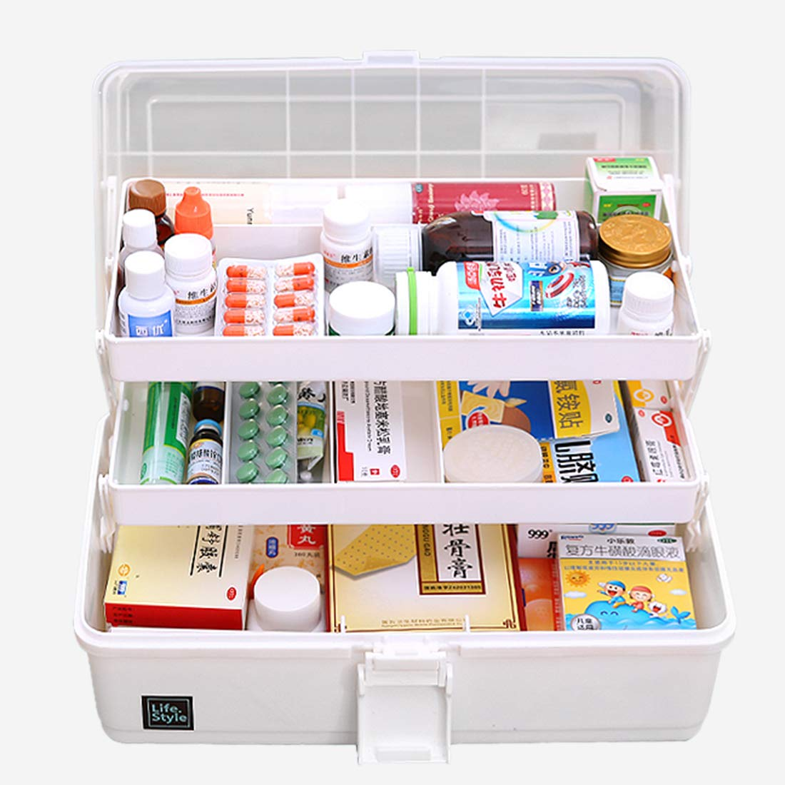 1 Pack Plastic Handle Storage Organizer 2 Layers with Compartments Bringer Clear First Aid Box