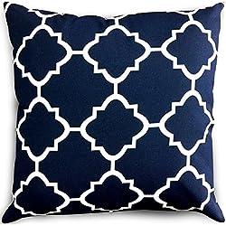 Decorative Square 18 x 18 Inch Throw Pillows Navy & White Moroccan Quatrefoil Lattice Cushion Pillow