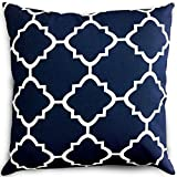 Image of Decorative Square 18 x 18 Inch Throw Pillows Navy & White Moroccan Quatrefoil Lattice Cushion Pillow