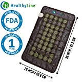 "HealthyLine | Far Infrared Heating Pad | Negative Ions | Stone Therapy | Relieves Sore Muscles, Joint & Arthritis Pain | Natural Healing Stones Jade & Tourmaline | 50 2"" Pieces 