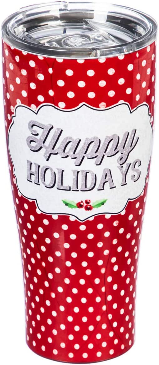 Cypress Home Beautiful Happy Holidays with Dots Double Wall Stainless Steel Cup - 3 x 3 x 8 Inches Indoor/Outdoor home goods For Kitchens, Parties and Homes