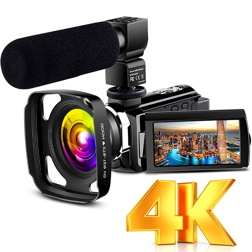"""4K Camcorder Vlogging Video Camera Ultra HD 60FPS Digital Recorder YouTube Camera WiFi IR Night Vision 3.0"""" IPS Touch Screen with Microphone, Wide Angle Lens, Lens Hood, 2 Batteries by LVQUONE"""