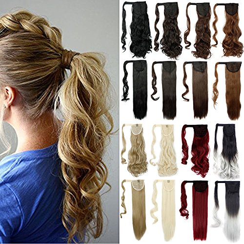 "Lelinta 18"" Wavy Curly Wrap Around Ponytail Extension for Woman Synthetic Hair Extension, 18 Inch-Curly, Medium Brown-curly"