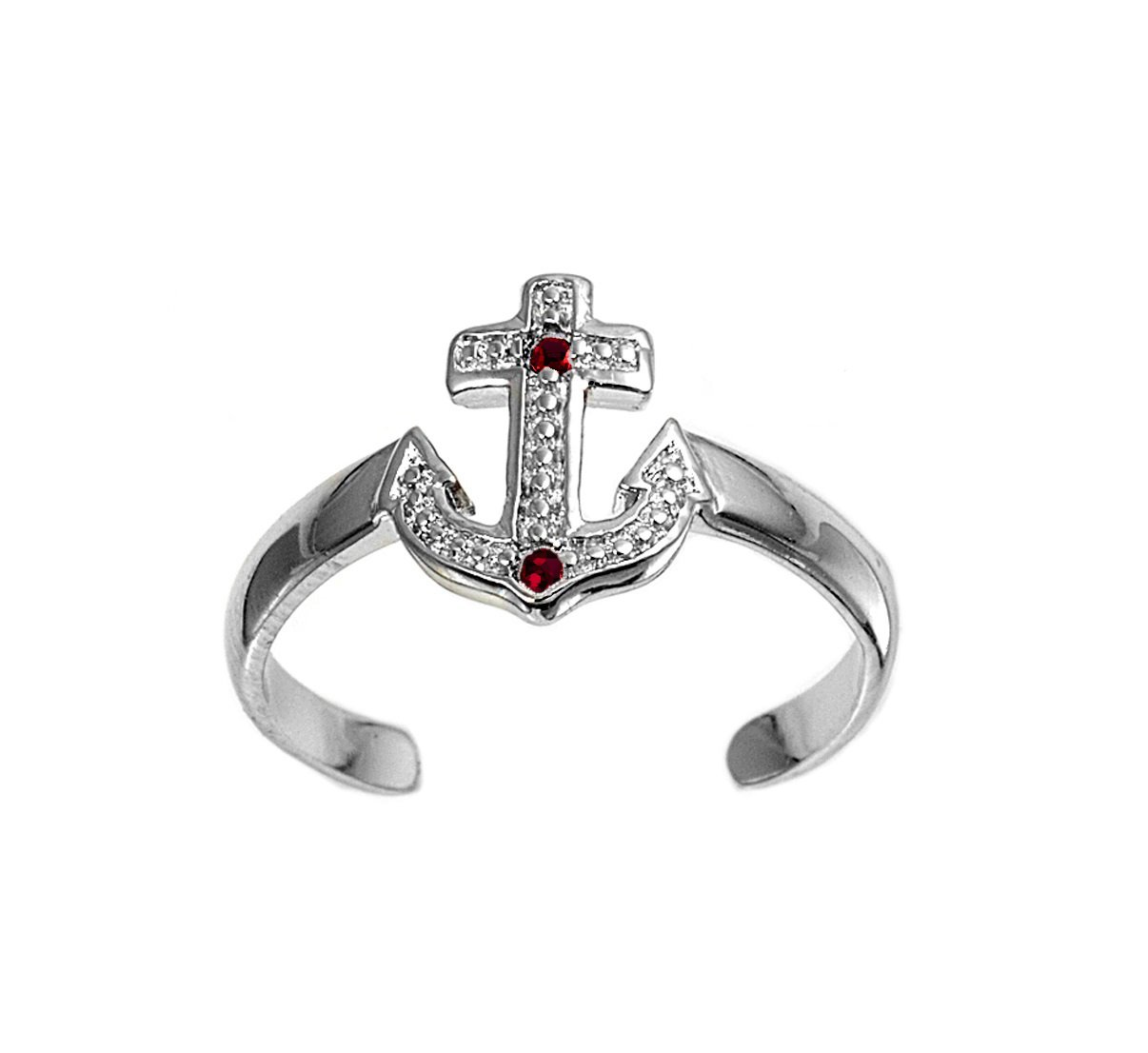 CloseoutWarehouse Simulated Garnet Cubic Zirconia Anchor Knuckle/Toe Ring Sterling Silver