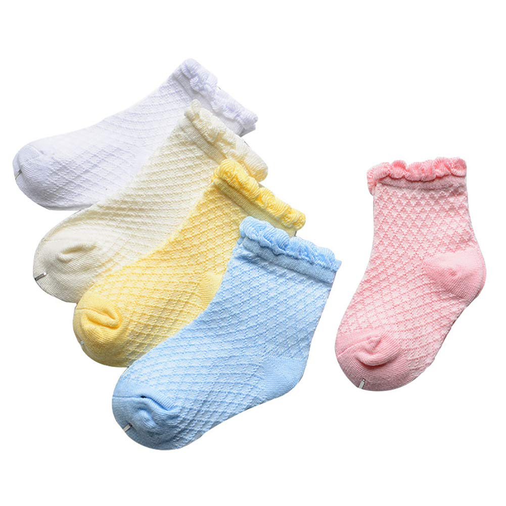 Looching Pack of 5 Mesh Thin Baby Girls Boys Cotton White Socks Toddler Kids No Show Ankle Socks 1-8T