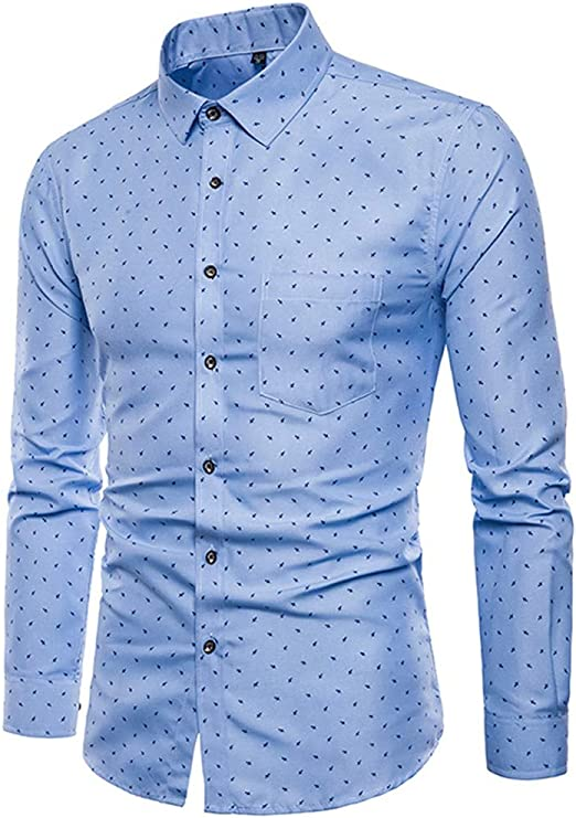 Overdose Camisas Hombre Manga Larga Lunares Slim Fit Tallas Grandes Formal Ibicenca Camisas Hombre Coderas para Bodas de Vestir Blusa: Amazon.es: Ropa y accesorios