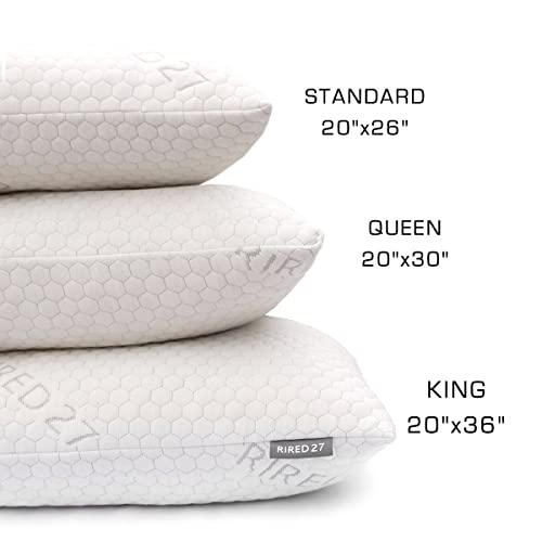 Bed Pillows for Sleeping-Rired27 Adjustable Loft Ultra Luxury Bamboo Shredded Memory Foam Pillow,Combination With Washable and Zipper Removable Cooling Hypoallergenic Pillow Cover -King