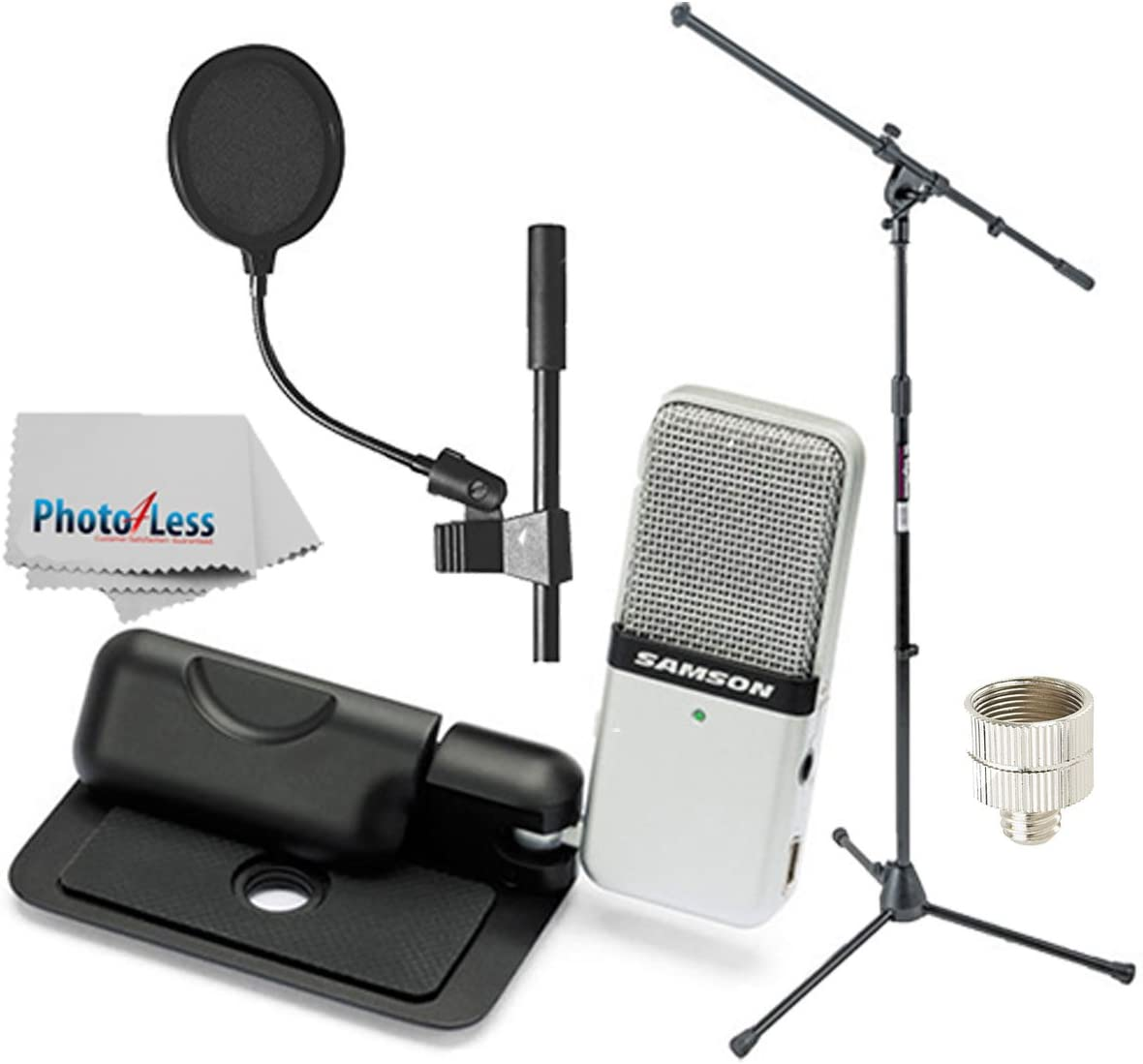 Samson Go Mic Portable USB Condenser Microphone Bundle with On-Stage MS7701B Euro Boom Microphone Stand, Pop Filter, Mic Screw Adapter & Cleaning Cloth Cleaning Cloth