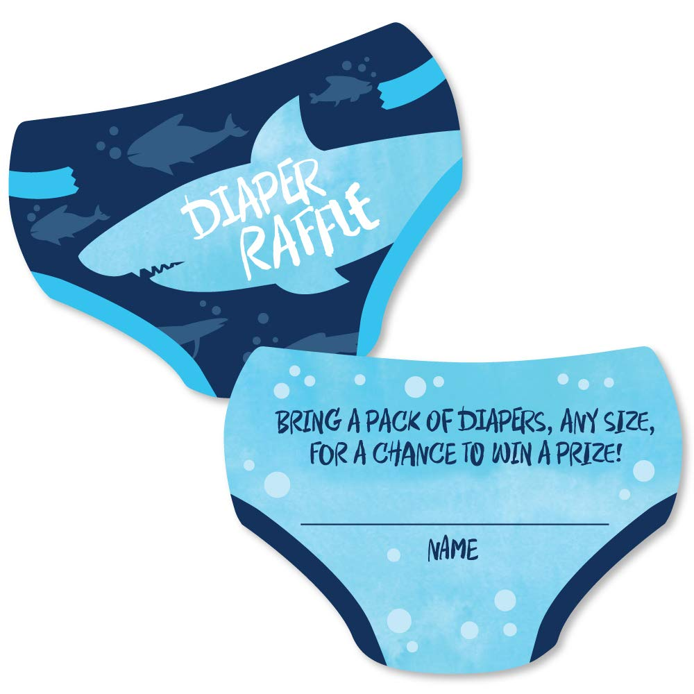 Big Dot of Happiness Shark Zone - Diaper Shaped Raffle Ticket Inserts - Jawsome Shark Baby Shower Activities - Diaper Raffle Game - Set of 24