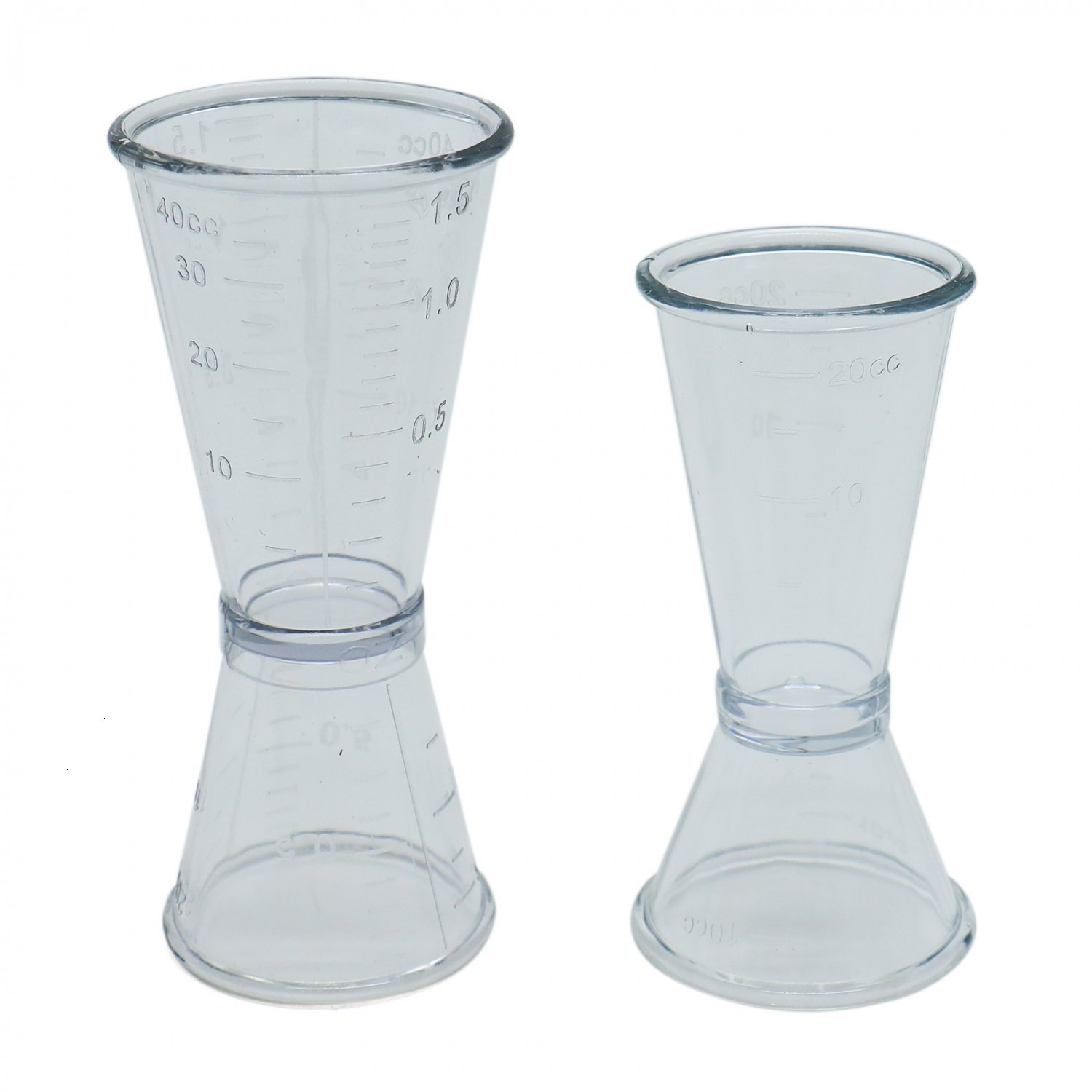 Buorsa 2 Pack Cocktail Wine Jigger Double Clear Plastic Shot Glasses Drink Spirit Measure Cup Bar Tool Ounce Cup, 2 size