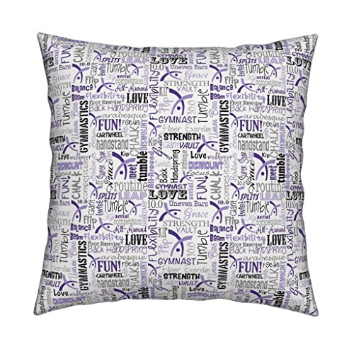 Roostery Gymnastics Organic Sateen Throw Pillow Gymnast Sports Purple Tumble Olympic Leotard by Heathertm13 Cover and Insert ()
