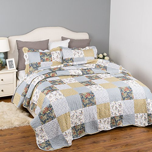 Bedsure Bedding Quilt Set Luxury Bedroom Bedspread Plaid Floral Patchwork Full/Queen Size 90x96 Microfiber Lightweight Vintage - bedroomdesign.us