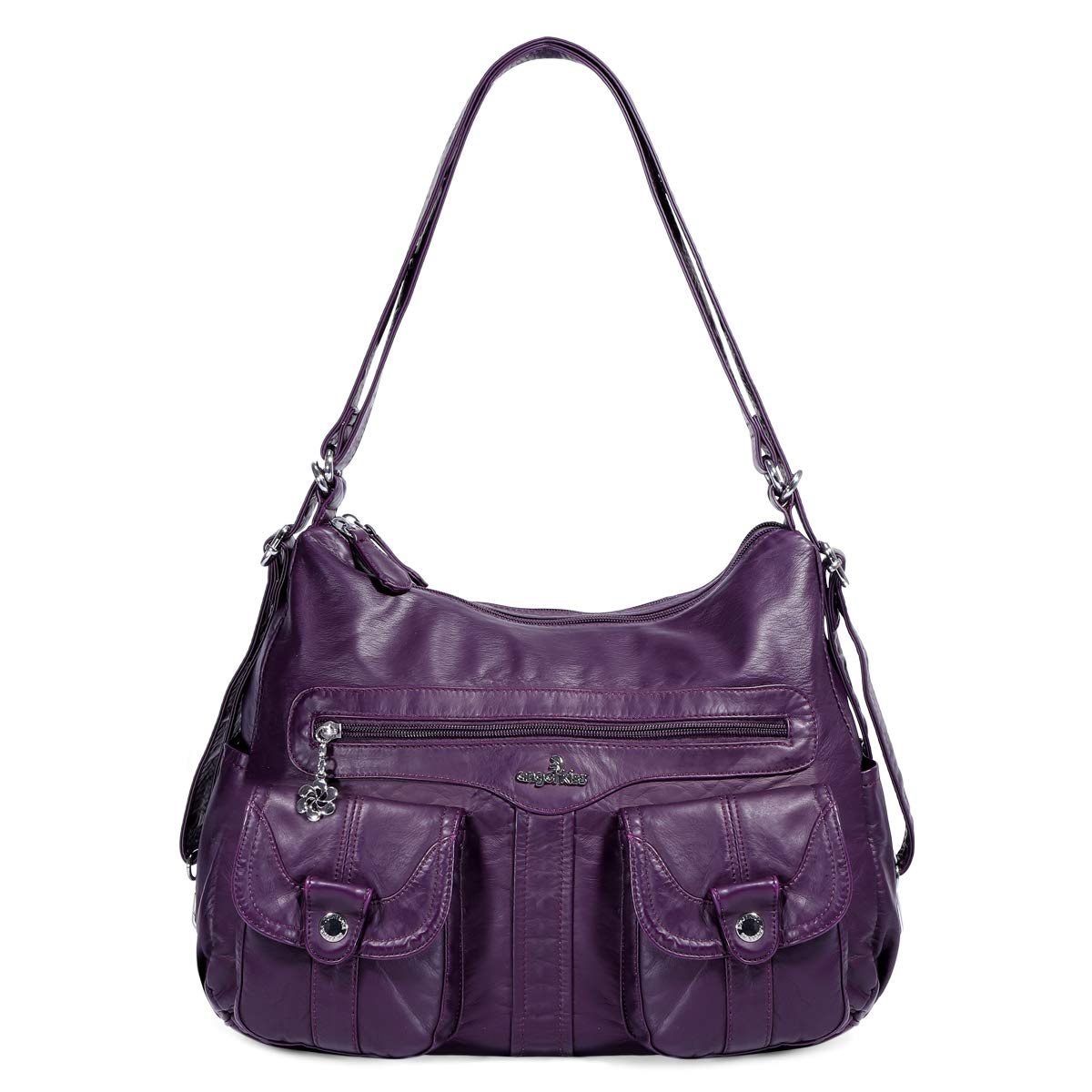 Angelkiss Women's Multifunctional Shoulder Hobo Bag Soft Leather Messenger Crossbody Purse Satchels Handbags with Zipper Purple