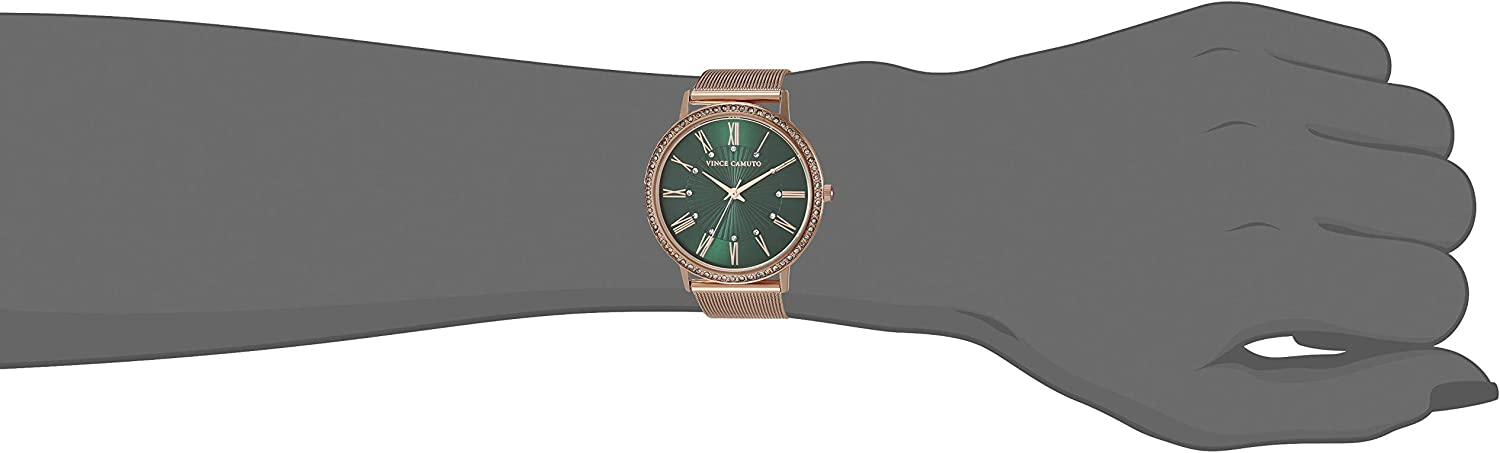 Vince Camuto Women's Crystal Accented Mesh Bracelet Watch Rose Gold/Green