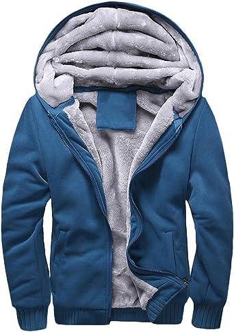 Homme Sweats à Capuche Fermeture Éclair à Capuche Polaire Fermeture Éclair Top Plain Veste manteau chaud Pull bleu
