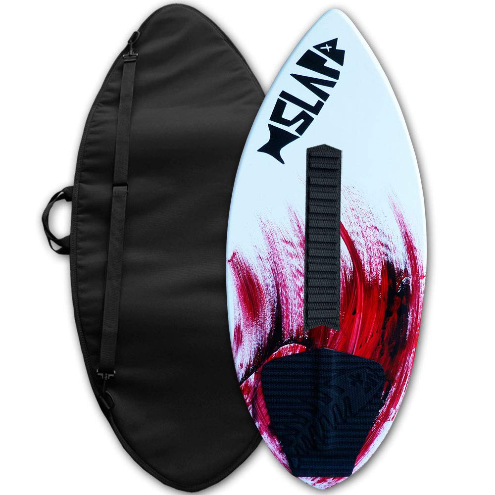 Slapfish Skimboards - Fiberglass & Carbon with Traction Deck Grip - Kids & Adults - 2 Sizes - Red (41'' Board with Arch Bar & Bag) by Slapfish