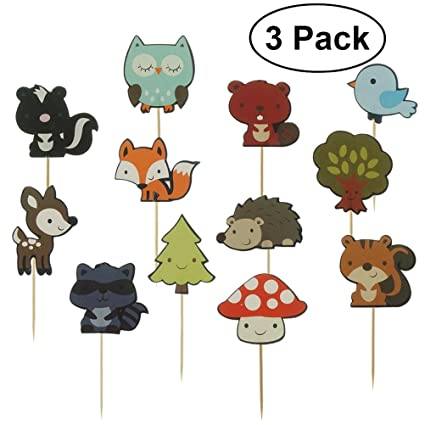 Bestomz Woodland Creatures Cup Cake Toppers Animales Del Bosque