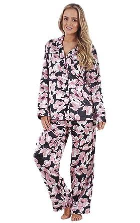 low cost 285f7 9093e Schwarzer Satin-Schlafanzug für Damen mit Schmetterling- und ...