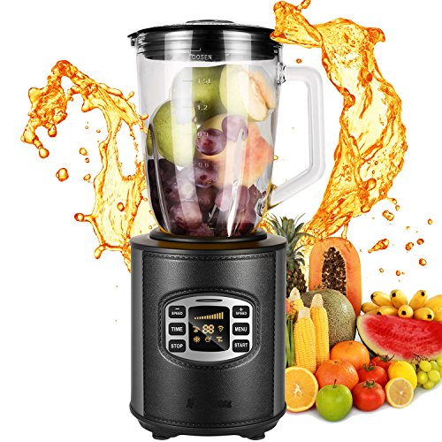 50oz 800W Glass Jar Smoothie Blender, Kitchen System 1.5L Brushed Stainless Steel Pro Fruit Mixer Food Processor BPA-Free-12 Speed Intelligent Control-Black