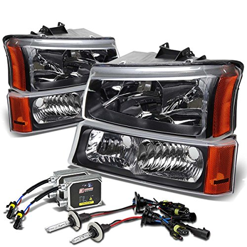 For Chevy Silverado/Avalanche 4-PC Headlight+Bumper Light (Black Housing Amber Corner)+6000K HID+Thick Ballasts - 1 Gen