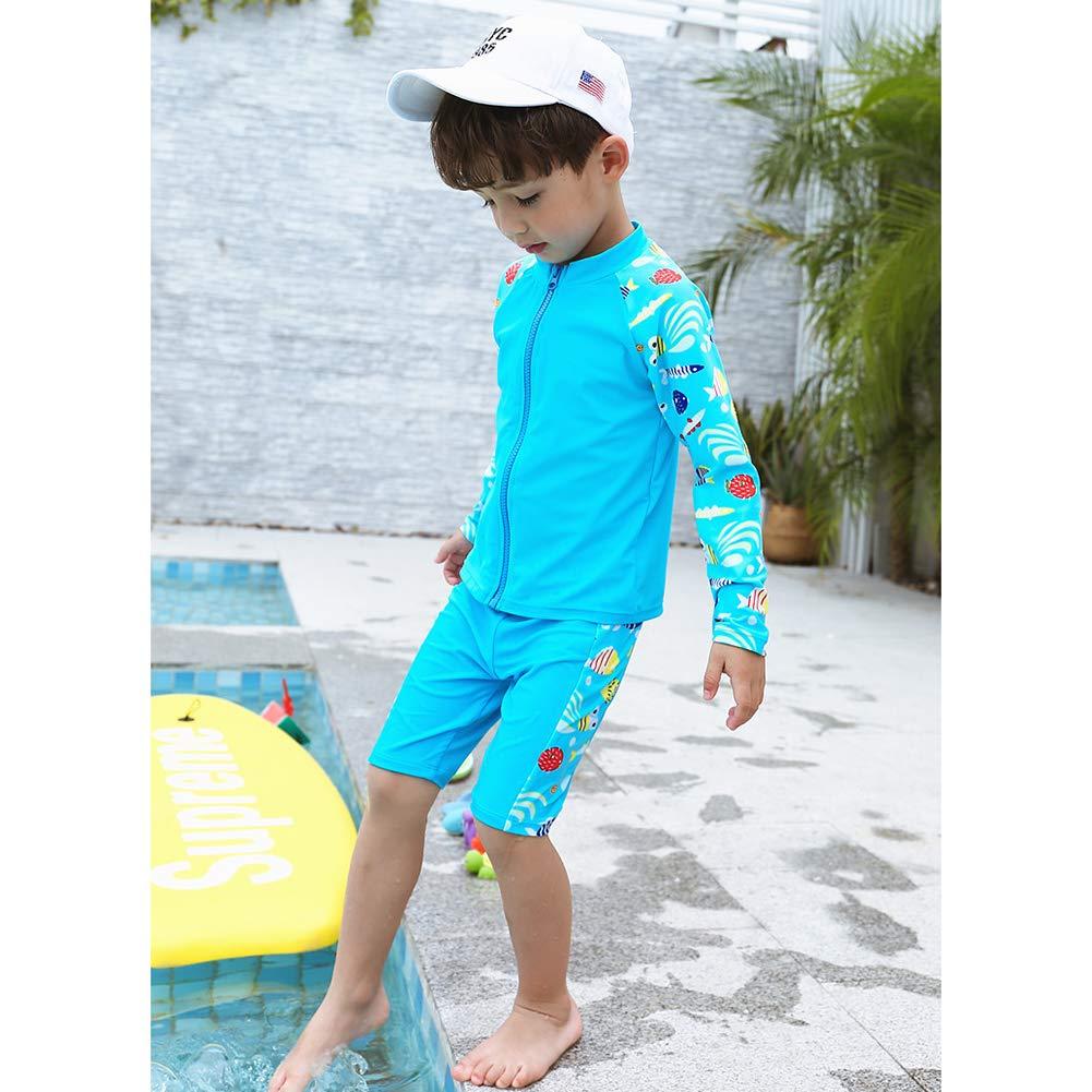 ACHIYI Baby Boys Kids 2Pcs Long Sleeve Blue Swimsuit Rash Guard Bathing Suit UPF 50 UV Surfing Beach Swimwear