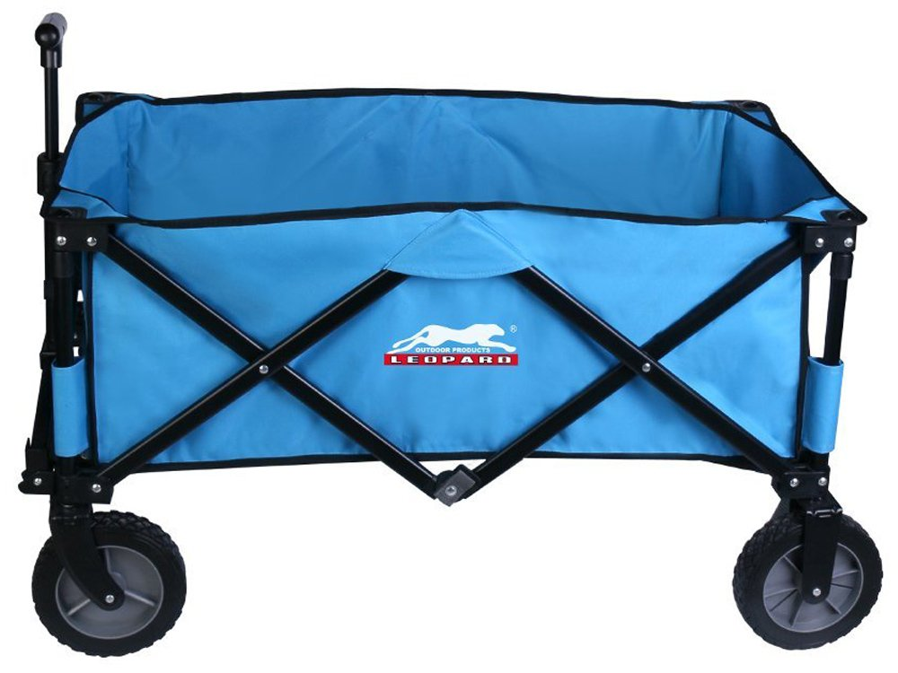 Leopard Outdoor Collapsible Utility Wagon,Portable Folding Utility Wagon,Sports garden cart,Beach Cart,Great Camping Wagon, Shopping Cart,with hard bottom,5 cu. ft. - Light Blue by Leopard Outdoor Products