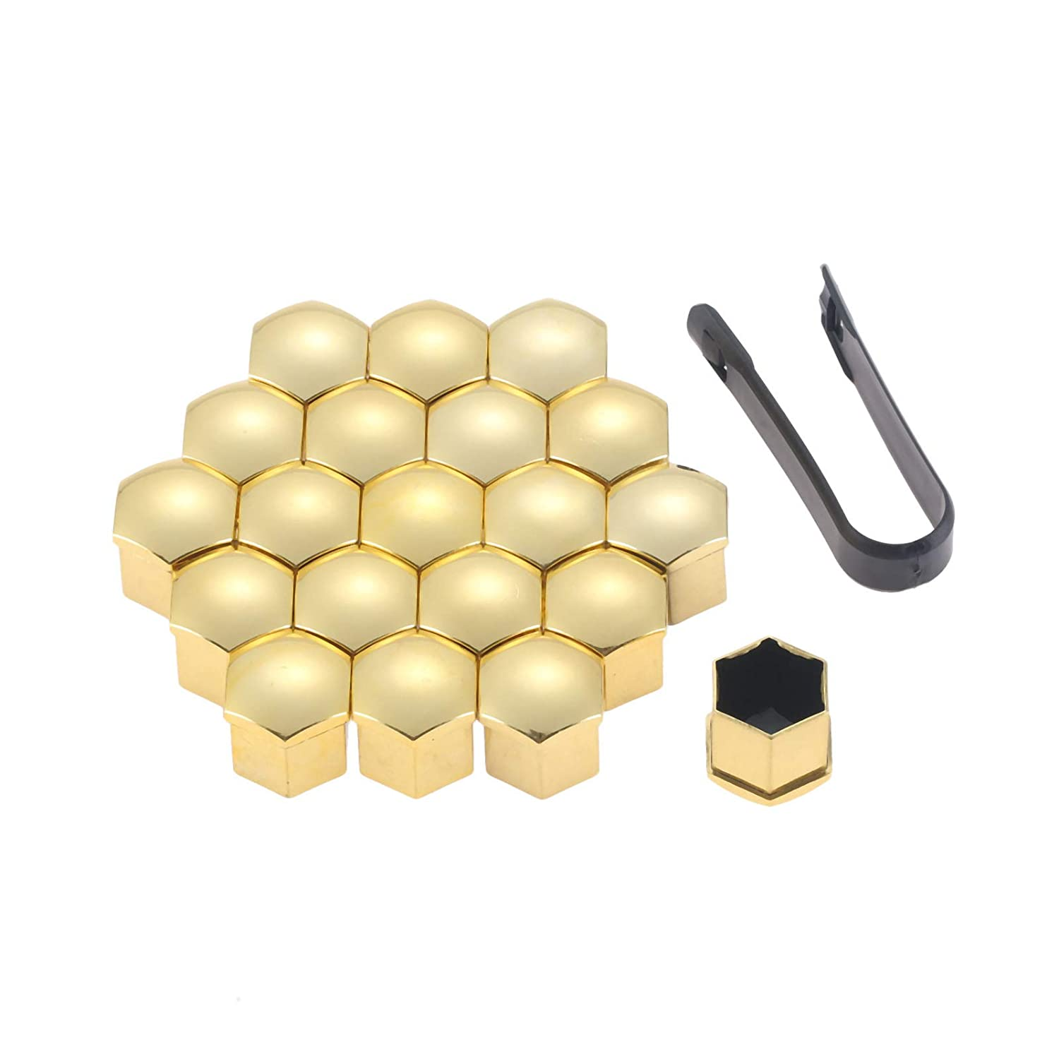 20Pcs Gold Universal Anti-Rust 21mm Chrome Glossy ABS Auto Trim Tyre Wheel Nut Screw Bolt Protection Covers Caps Car Styling Mtsooning