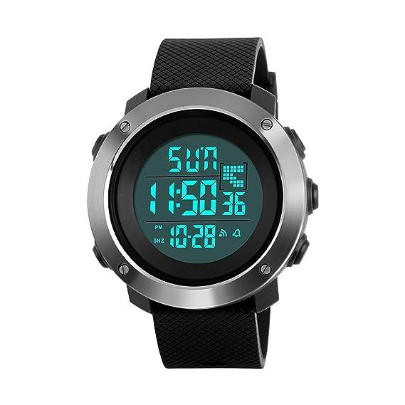 Skmei - Reloj digital de pantalla extra grande, 50 m, cronómetro deportivo y alarma UK 1267: Amazon.es: Relojes