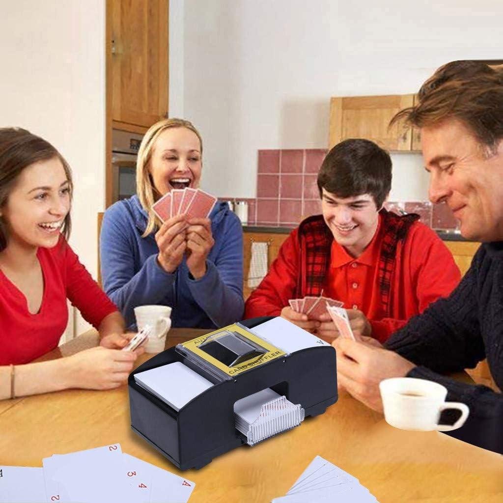 f/ür Poker-Spielkarten Board Game Batteriebetrieben Bis zu 2 Decks YUWEX Automatische Kartenmischmaschine Card Schwarz Shuffler