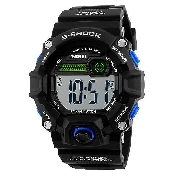 Reloj Digital para Hombre, Resistente al Agua, Luminoso, Reloj de Pulsera con Tiempo de conversación/Alarma para Hombres por LONGQI: Amazon.es: Relojes